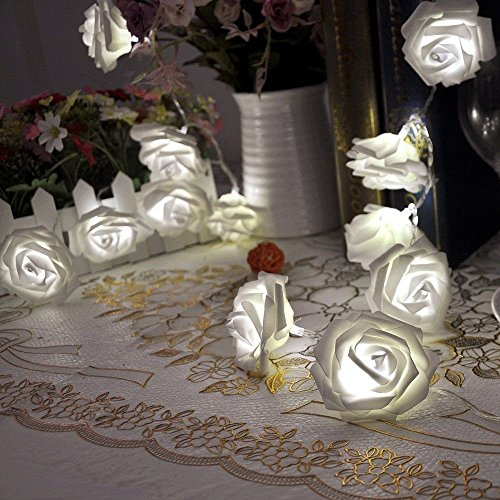 VIPMOON Rose Flower String Lights,2M 20LED Battery Operated Romantic String Lights Bright Warm Flower Rose Lamp Fairy Light for Valentine's Day Wedding Gardens Party Christmas Decoration - White
