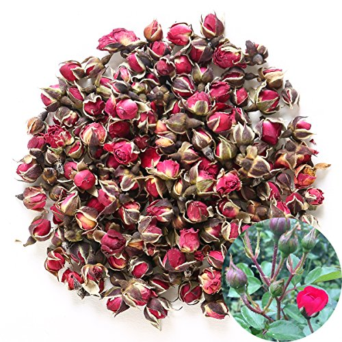 TooGet Fragrant Natural Deep Red Rose Buds Rose Petals Organic Dried Golden-rim Rose Flowers Wholesale, Culinary Food Grade - 4 OZ