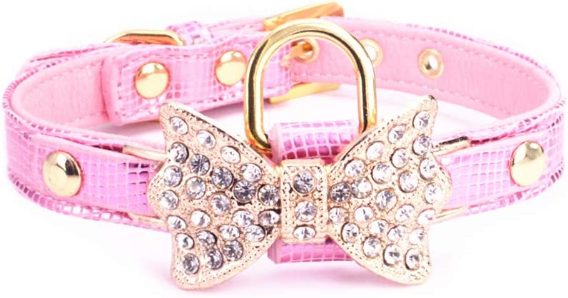 OxyPlay Cat Dog Collar, Bling Rhinestones Premium PU Leather with Shiny Crystal Alloy Buckle Extra D Ring Adjustable Collars for Cat Puppy Travel Party Yorkshire Poodle