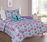 MB Collections Blue Butterflies Pink Blue White Purple 3 Piece Printed Comforter with Pillowcase for Girls / Kids/ Teens # Twin Size 3 Pcs Comforter Set