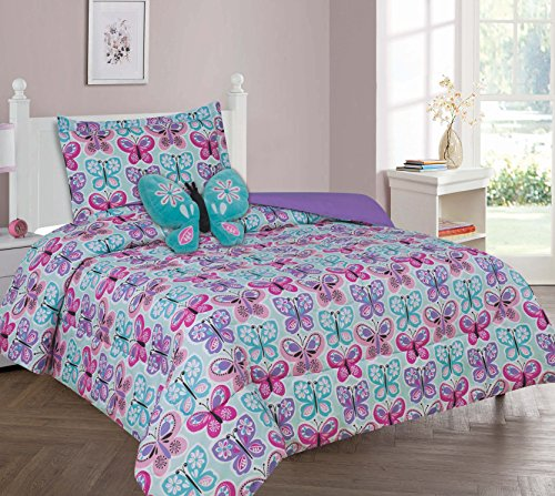 MB Collections Blue Butterflies Pink Blue White Purple 3 Piece Printed Comforter with Pillowcase for Girls / Kids/ Teens # Twin Size 3 Pcs Comforter Set by MB Lenin & More