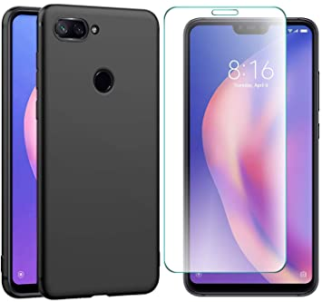 AOBOK [2 Piezas, Funda Xiaomi Mi 8 Lite, Protector Pantalla Xiaomi Mi 8 Lite, Ultra Fina Negro Silicona Carcasa para Xiaomi Mi 8 Lite Smartphone Suave ...