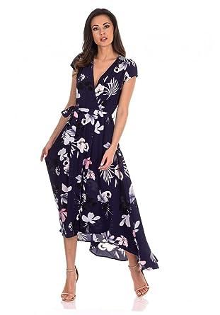 a6d5c02e92 AX Paris Women's Floral Maxi Wrap Dress at Amazon Women's Clothing ...