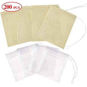 Wandefol 200 bolsas de té desechables, bolsas de té de papel ...