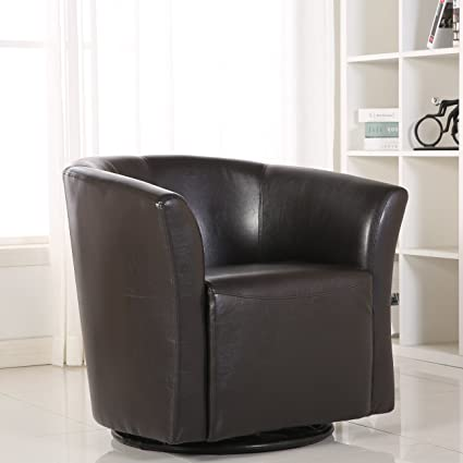 Belleze Modern Pub Round Bar Chair With Swivel Base And Tilt Barrel Style  Extra Padded Cushion