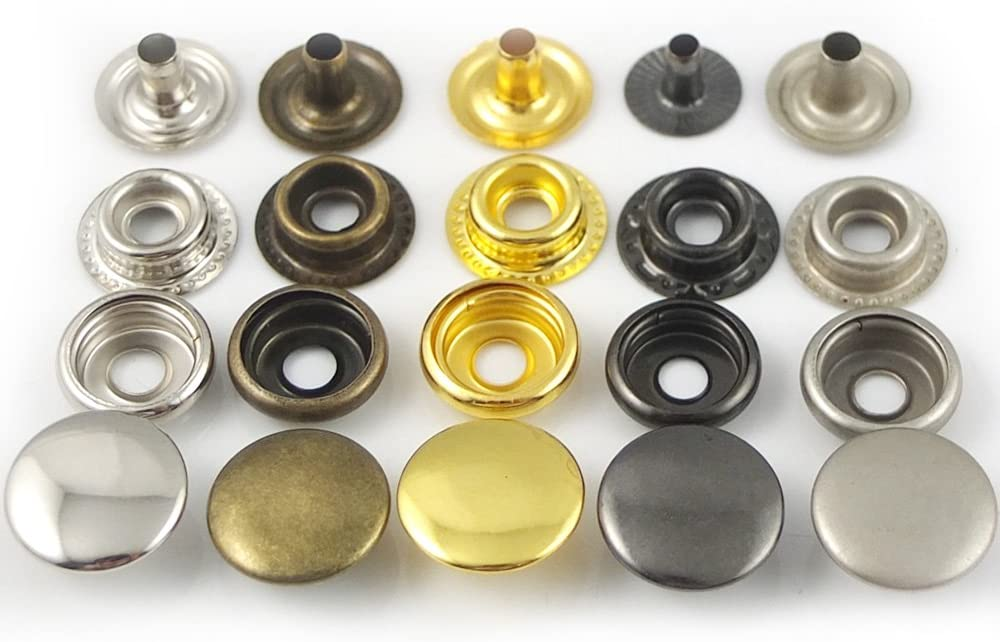Gold 15mm 5//8 Metal Snap Fastener Leather Rapid Rivet Button Sewing Bluemoona 100 Sets