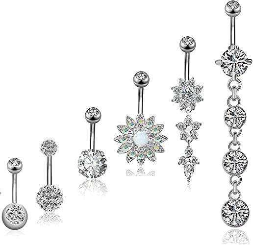 Navel Ring Body Jewellery Piercing Belly Piercing Jewelry Surgical Steel Belly Button Ring Barbell Piercing 14g
