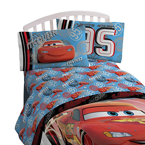 Disney Cars Bedding Set (Disney/Pixar Cars 95 Full  4 Piece Blue Sheet Set with Lightning McQueen (Offical Disney/Pixar Product))