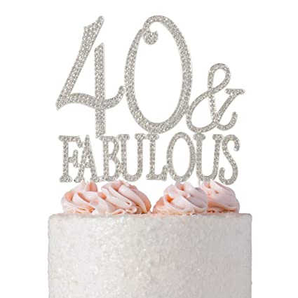 40 And Fabulous Rhinestone Cake Topper