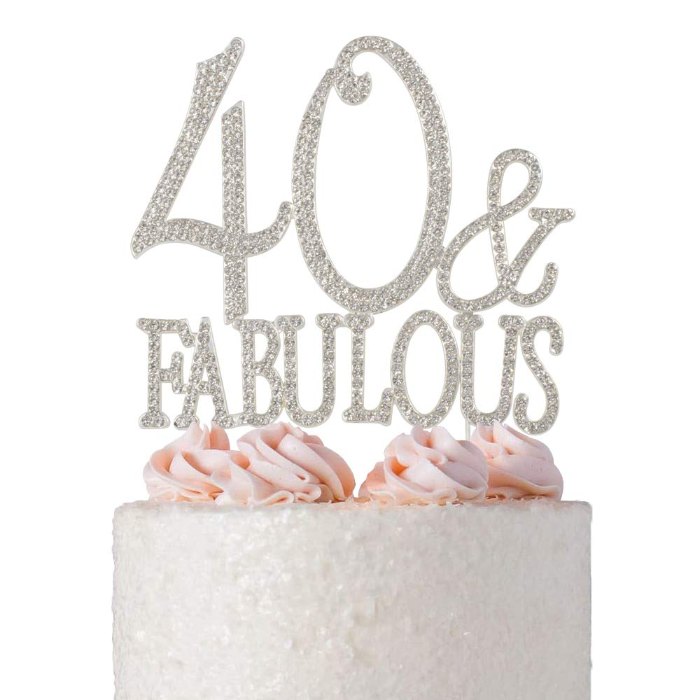 40 and Fabulous Rhinestone Cake Topper | Premium Sparkly Crystal Diamond Bling Gems | 40th Birthday Party Decoration Ideas | Quality Metal Alloy | Perfect Keepsake (40&Fab Silver)