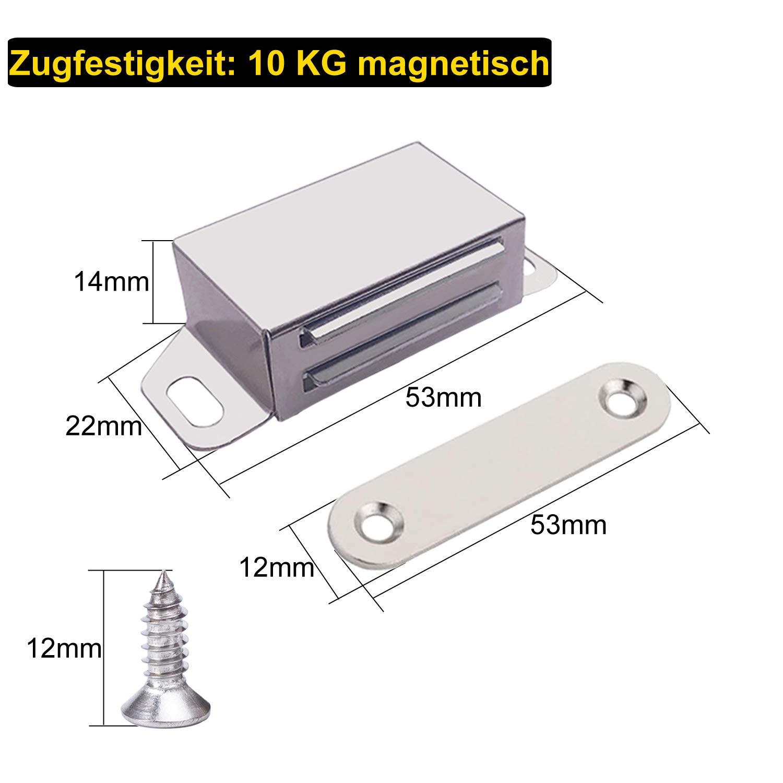 Magnetschn/äpper Schrankt/ür Magnet VEVIK Magnetverschluss T/ürschlie/ßer Magnetschloss T/ürmagnet M/öbelmagnet Edelstahl T/ürverschluss f/ür Schublade Kabinett Schiebet/ür Balkont/ür 4 St/ücke