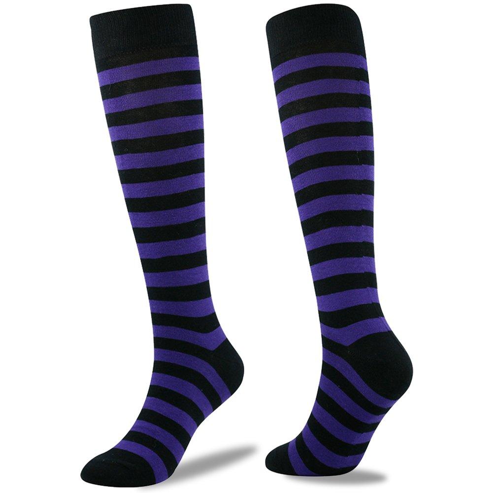 Stripe Soccer Socks, SUTTOS Adult Men and Women Cushioning Chearleading Team Socks Youth Girls Kids Boys Soccer Hockey Football Sport Socks School Group Socks Purple Black Pack of 2 by SUTTOS