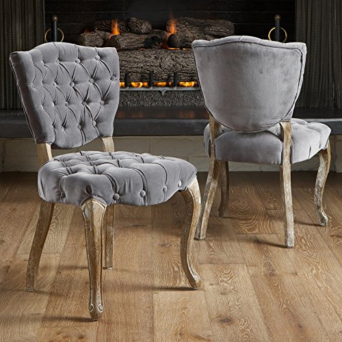 Free Best Selling Lane Tufted Fabric Dining Chair, Grey, Set of 2