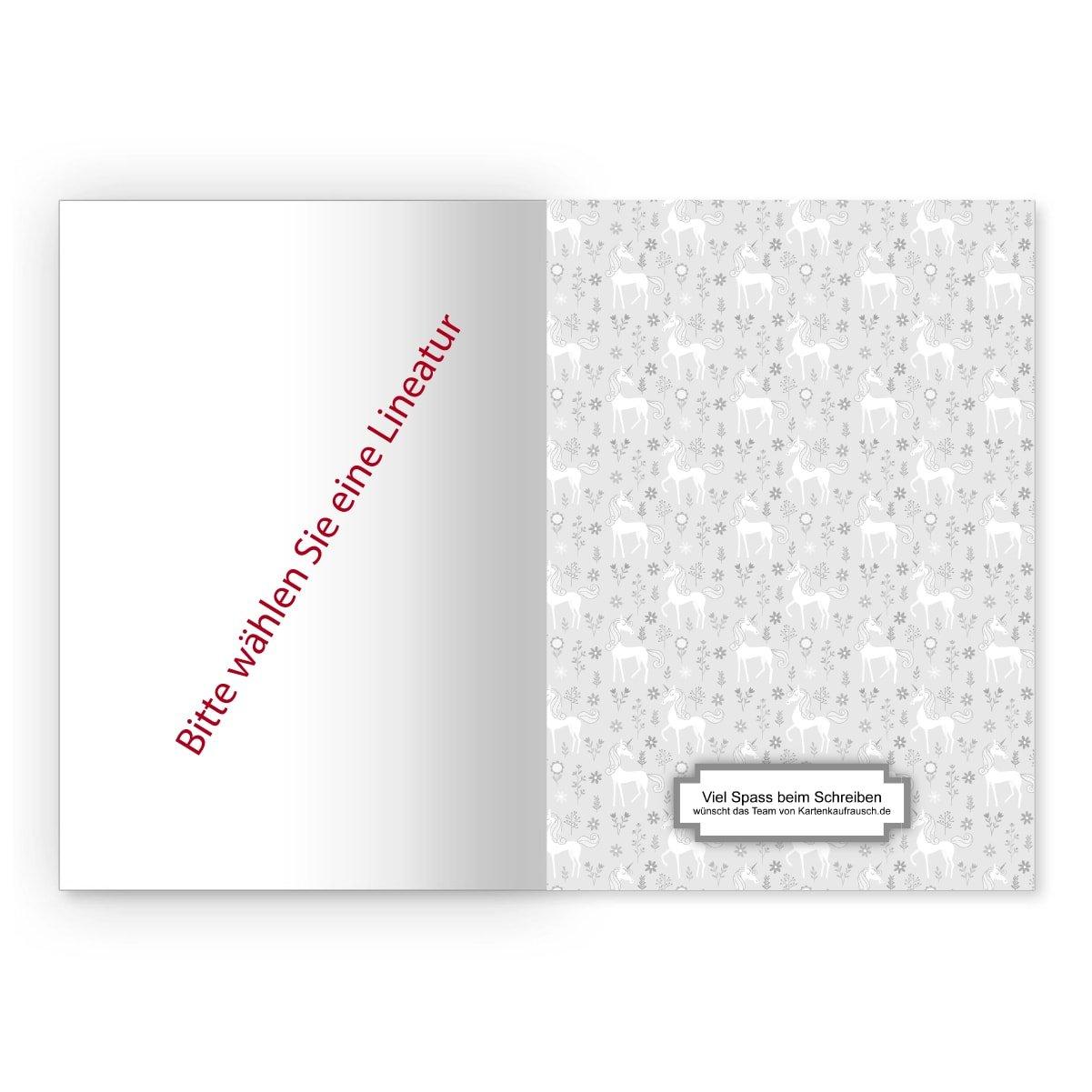 Zauberhafte M/ädchen DIN A5 Schulhefte Kartenkaufrausch 2 personalisierte blanko Heft Schreibhefte mit Einh/örnern in gr/ün Lineatur 6