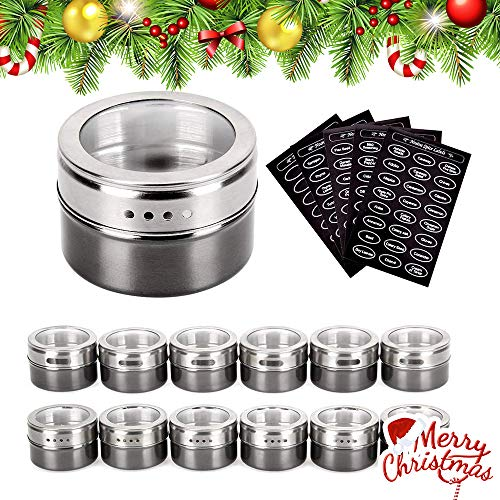 Magnetic Spice Tins - Stainless Steel Magnetic Spice Rack Magnetic on Fridge Spice Jars Organizer Condiment Container Set Pack of 12 with 120 Spice Labels Clear Lid with Sift & Pour for Small Kitchens -