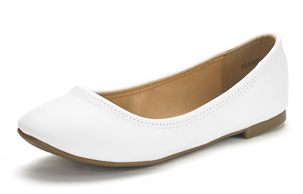 DREAM PAIRS Women's Sole Happy Ballerina Walking Flats Shoes B01N6EQ2QS 5.5 B(M) US|White
