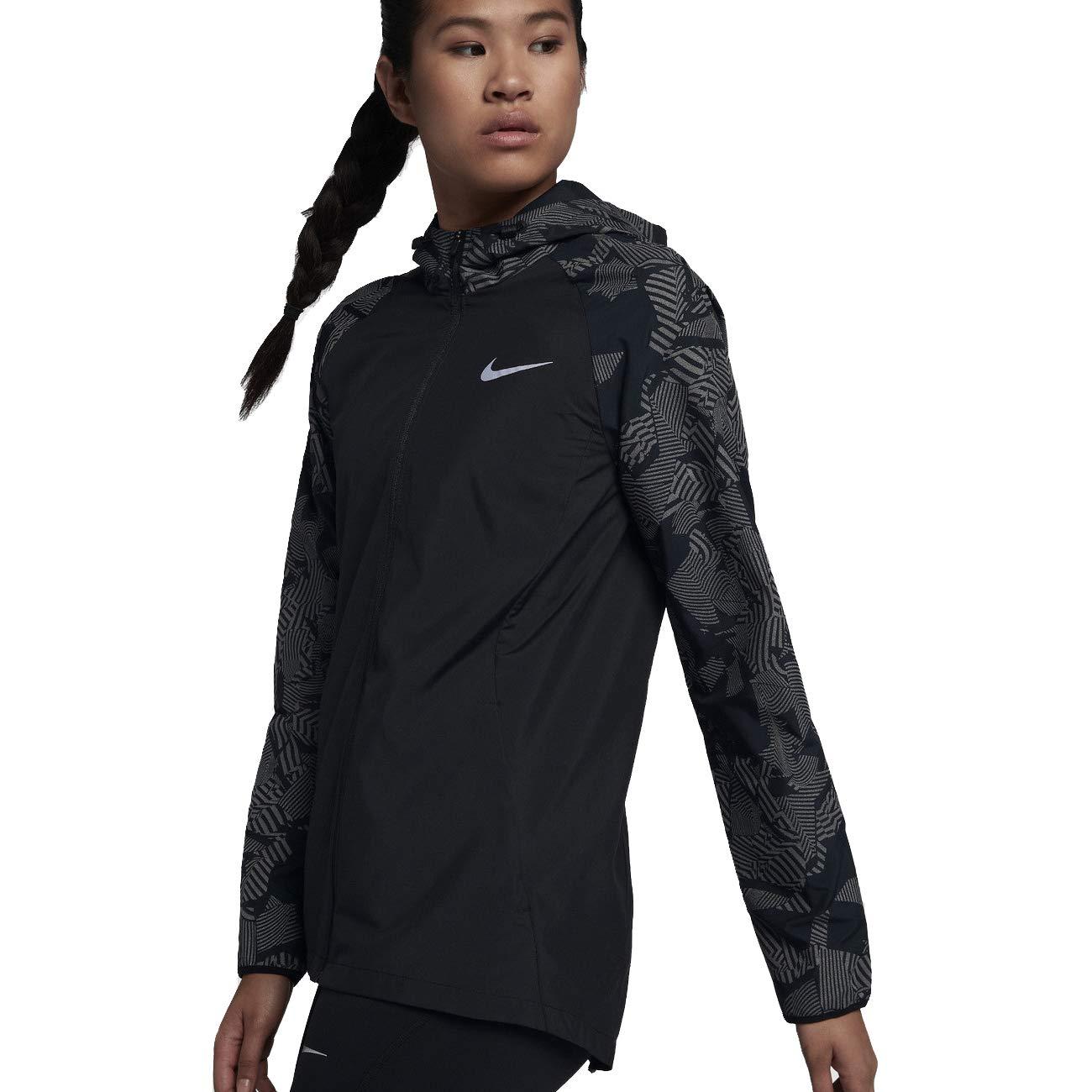 Nike Essential Flash Women's Reflective Running Jacket (Black, Medium) by Nike