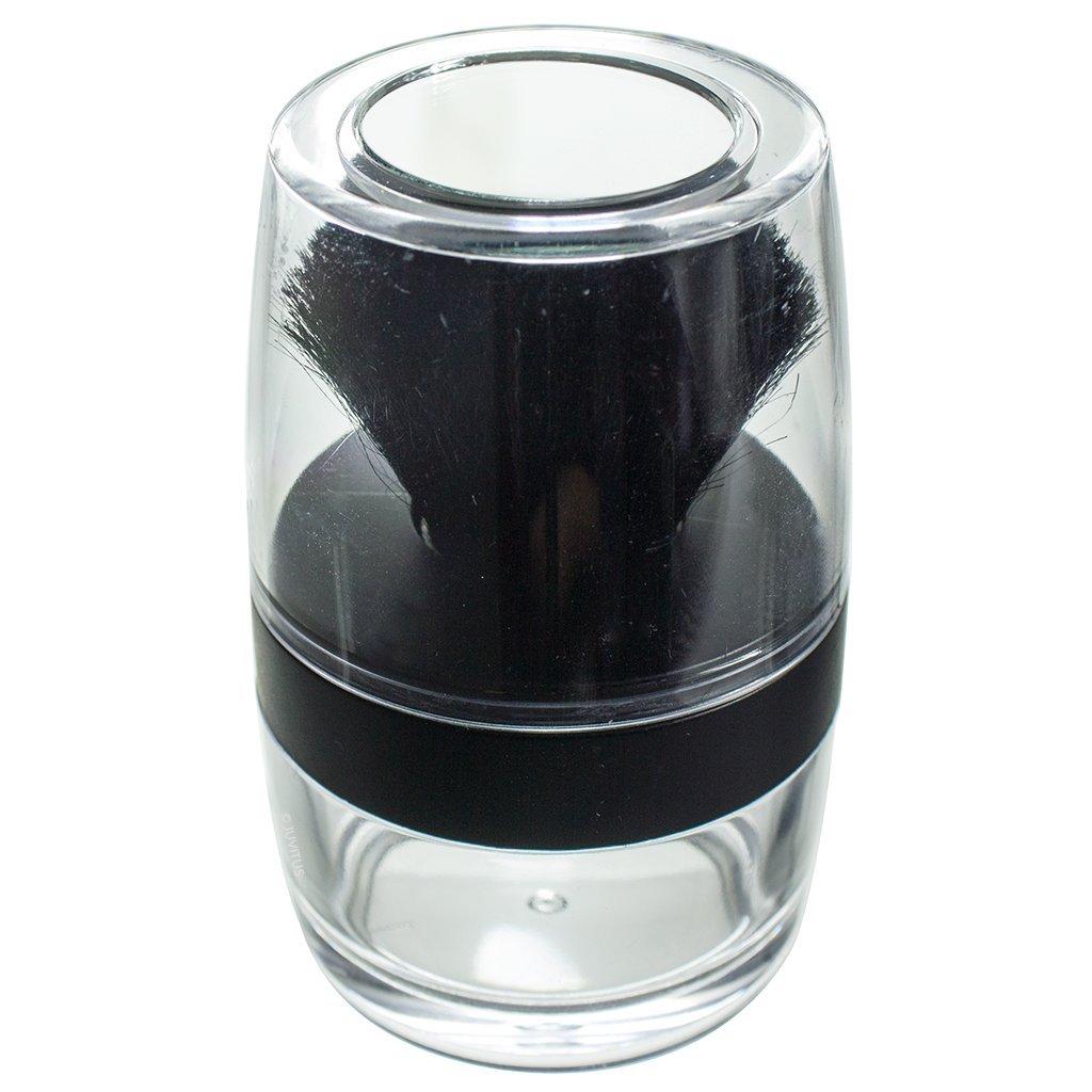 Kabuki Black Nylon Bristle Brush Sifter - Empty Refillable Travel Jar with Mirror for Mineral Makeup, Powders, Custom Foundations