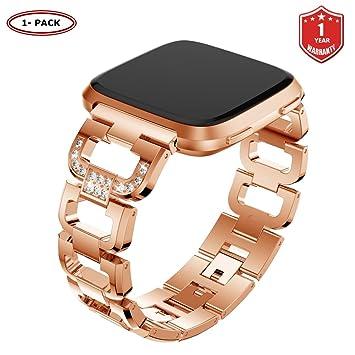 FunBand Correa para Fitbit Versa para Mujeres, Reloj Reemplazo de Banda Acero Inoxidable Metal Bling con Diamantes para Fitbit Versa (Oro Rosa): Amazon.es: ...