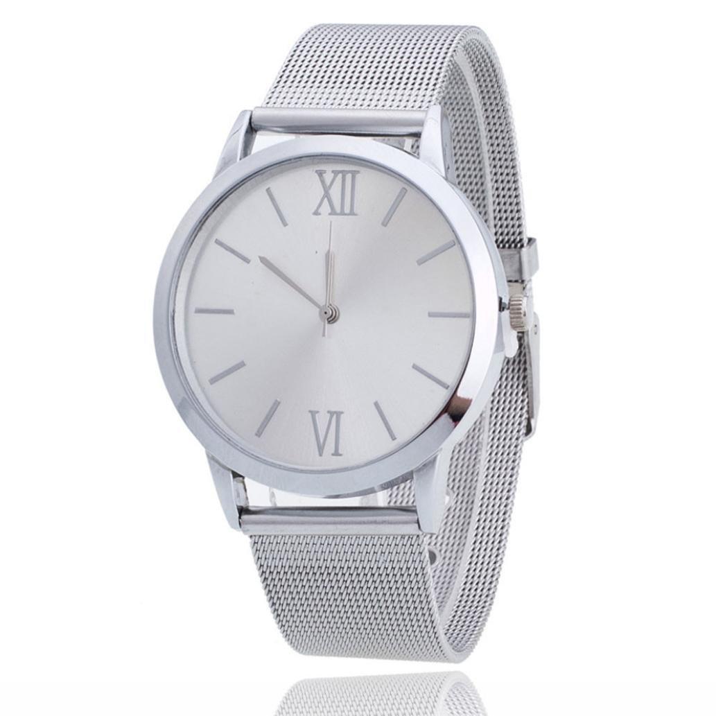 FUNIC Women Ladies Watch, Silver Stainless Steel Mesh Band Wrist Watch (White)