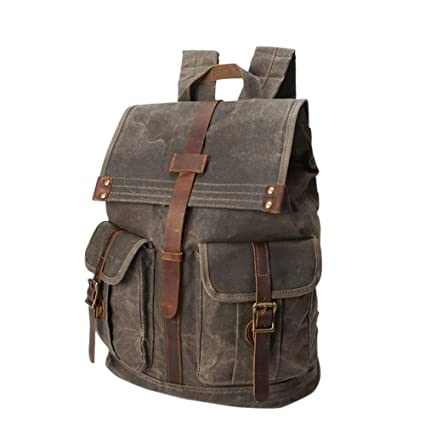 21a44133e14d Vintage Canvas Laptop Backpacks Men Casual Waxed Canvas Campus School  Rucksack Anti-Theft Outdoor Travel