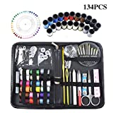 Aibay Sewing Thread Kit Tools Quality Premium Mini Sew Supplies Set with Essential Accessories Tools for DIY, Home, Travel, Camping & Emergency. Best Gift for Kids, Girls, Beginners & Adults. (134PCS)