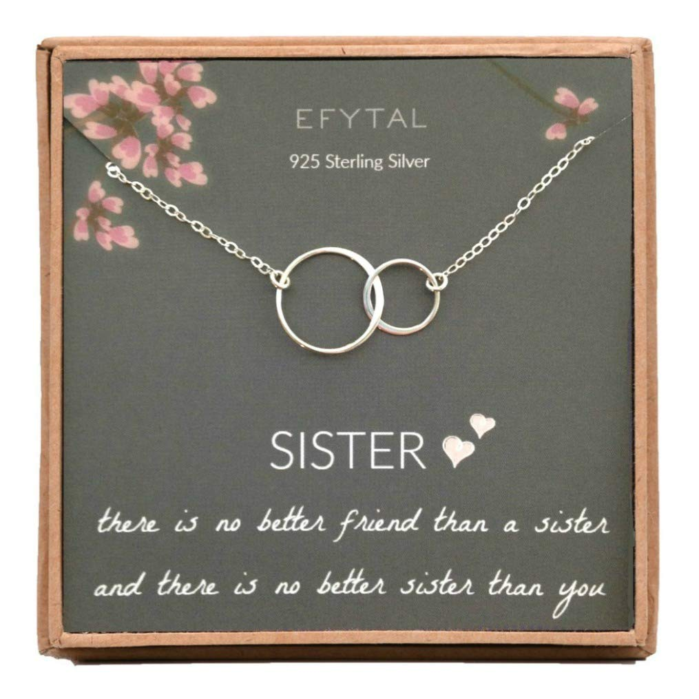 EFYTAL Sister Gifts from Sister 925 Sterling Silver Double Circle Necklace No Better Friend Birthday Jewelry Gift Necklaces for Sisters
