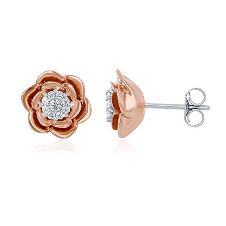 Beautiful Flower Stud Earrings 14K Rose Gold Fn CZ Stone Alloy Womens Girls Kids Jewellery