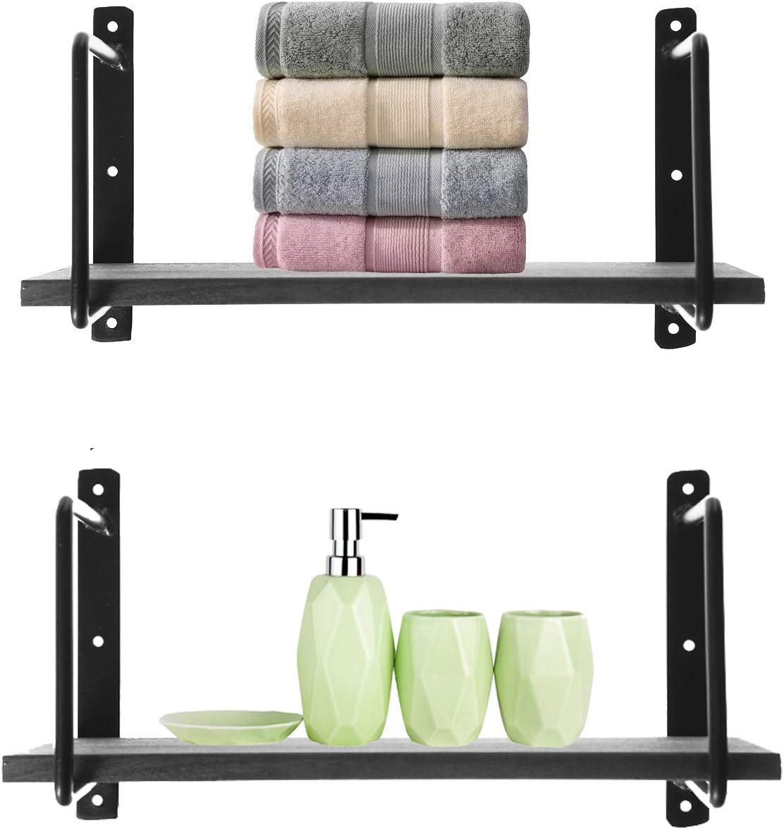 Riplz Home Wall Shelf Set of 2 Gray Wood Shelves & 4 Metal Brackets Wall Mounted Shelves can Also be Used in Bathroom Bedroom Kitchen Dining Room Office and as Laundry Room Shelves