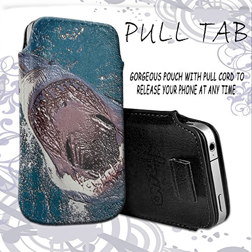 Diving World 039, Shark Jaws, Embossed Black PU Leather Ultrathin Holster Sleeve Slide In Pull Tab Pouch Case Cover Etui Wallet with Textured Motif and Elastic Pull Strap for HTC One M9.