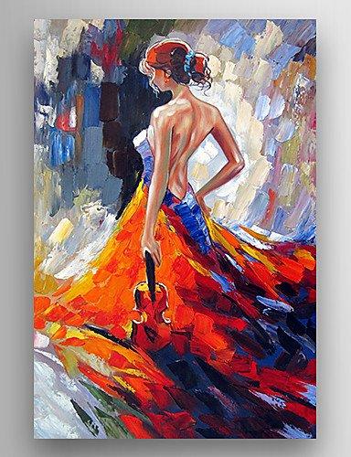 OFLADYH ® lona pintura al óleo de una mujer con una guitarra en la mano pintada