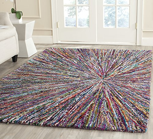 Safavieh Nantucket Collection NAN319A Handmade Abstract Burst Multicolored Cotton Area Rug (8' x - Rug Abstract Area Expression