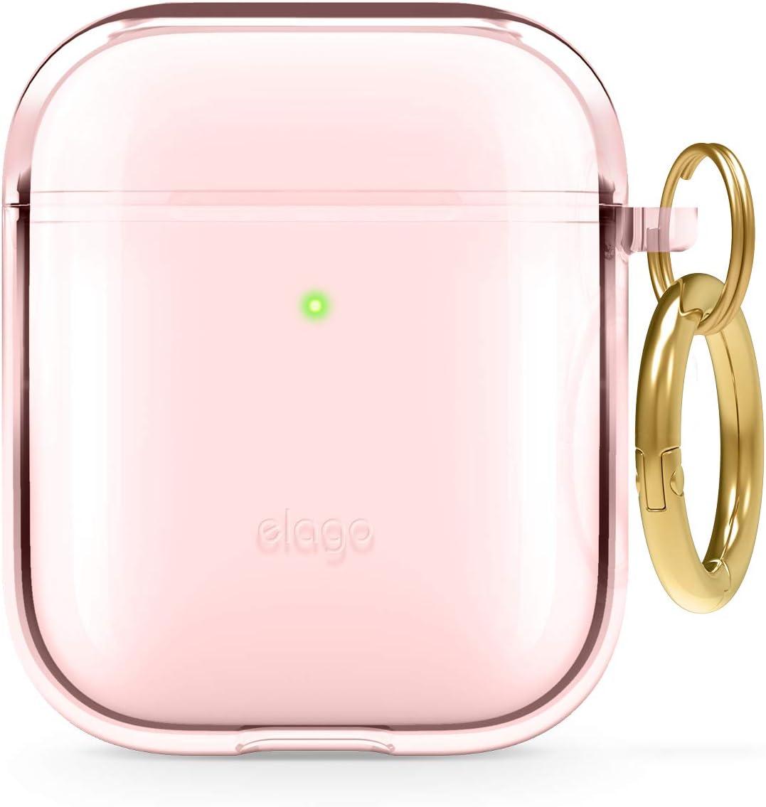 elago Funda TPU Clear Compatible con Apple AirPods 2&1 - Premium TPU, Reduce Amarilleo, Libre de Mancha, Soporte la Carga Inalámbrica (Lovely Rosa)
