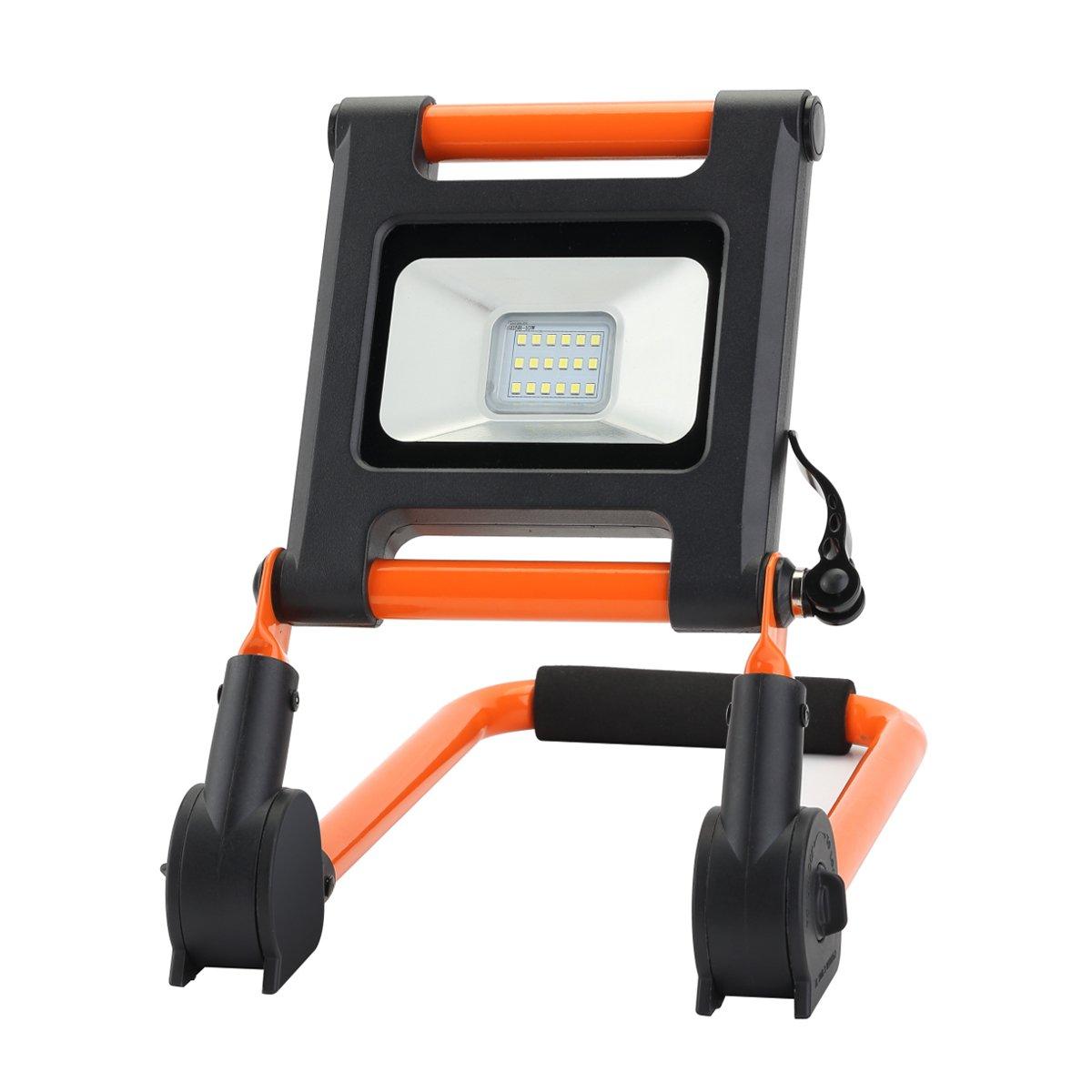 Link2Home EM-L59BO 700 Lumen LED Waterproof Portable Rechargeble Worklight with Adjustable Frame in Orange, Black/Orange