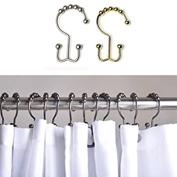 OSOPOLA Stainless Steel Shower Curtain Rings Glide Roller Rustproof Hooks Polished Chrome For Bathroom