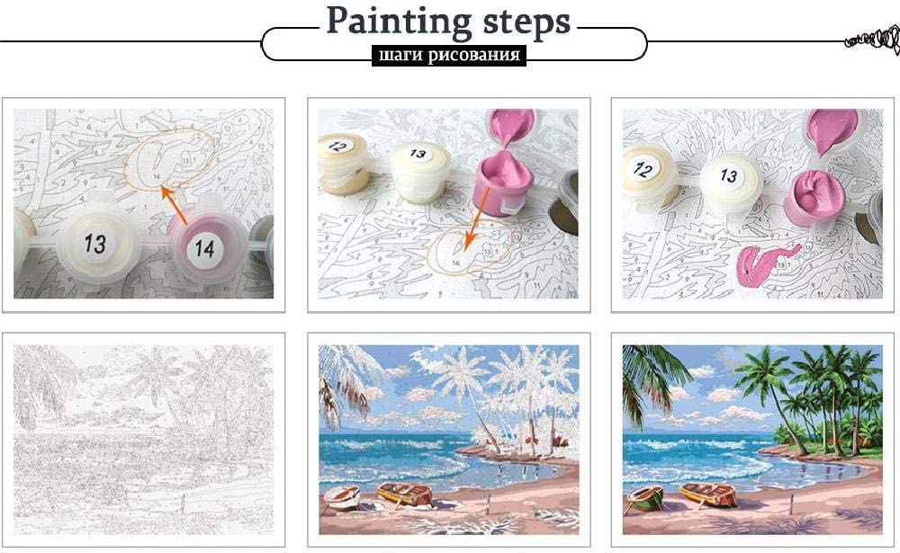 50Cm Kids Children Adult Beginners Modern Romantic Wall Frameless Canvas Mural Hand-Painted Crafts Digital Painting Bay View DIY Home Decoration Gift 40