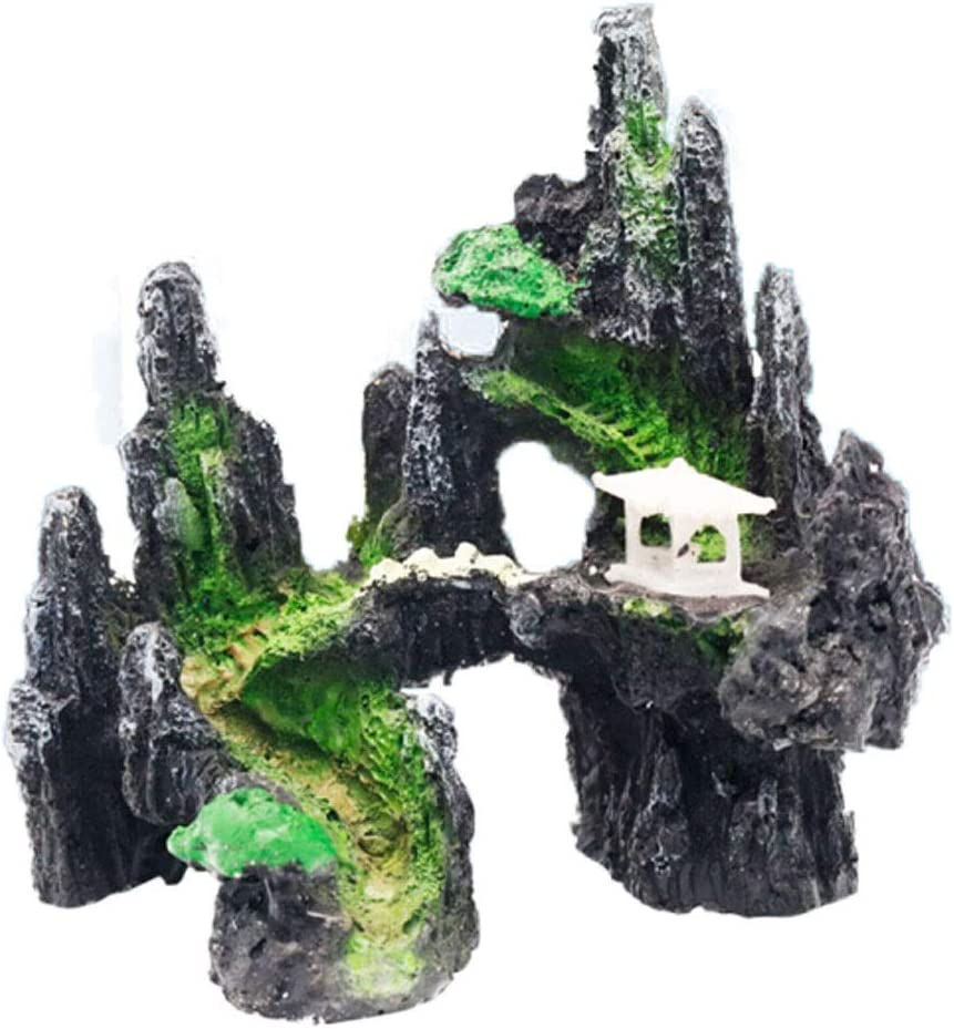 MDSM 小さな水槽の飾り造園ストーンパッケージセット風景ロックストーンプラスチックウォーターグラスドッジ邸金魚水槽水族館背景デコレーションフェイク橋 (Size : B)