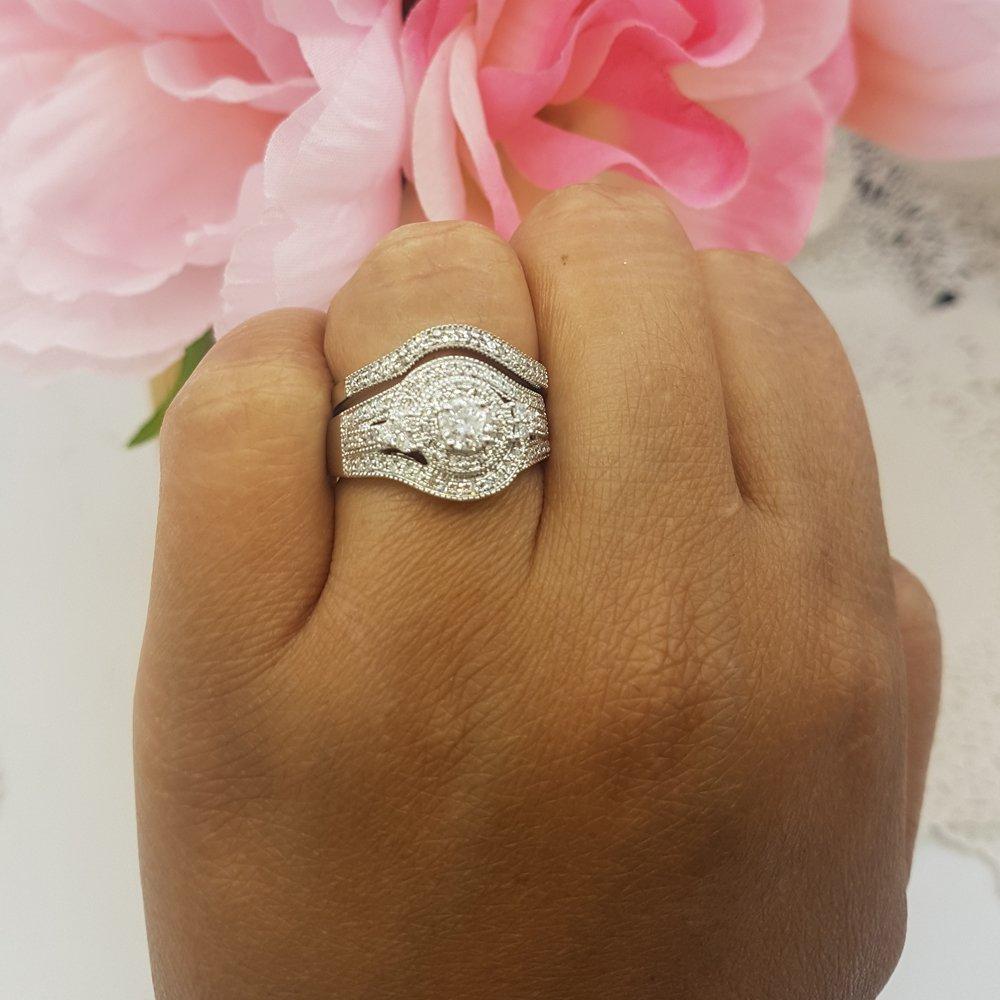 1.00 Carat (ctw) 14k White Gold Round Diamond Ladies Vintage Bridal Engagement Ring Matching Wedding Band Set 1 CT (Size 8) by DazzlingRock Collection (Image #4)