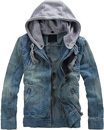 Rrive Mens Casual Buttons Hooded Drawstring Denim Print Sweatshirt Jacket