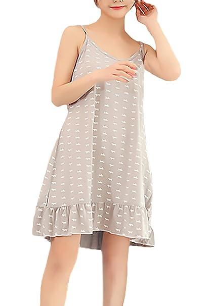 Pijamas Mujer Elegante Tirantes V Cuello Impresión Vestidos Corto Pijama Verano Ropa Dama Moda Fashionista Confort
