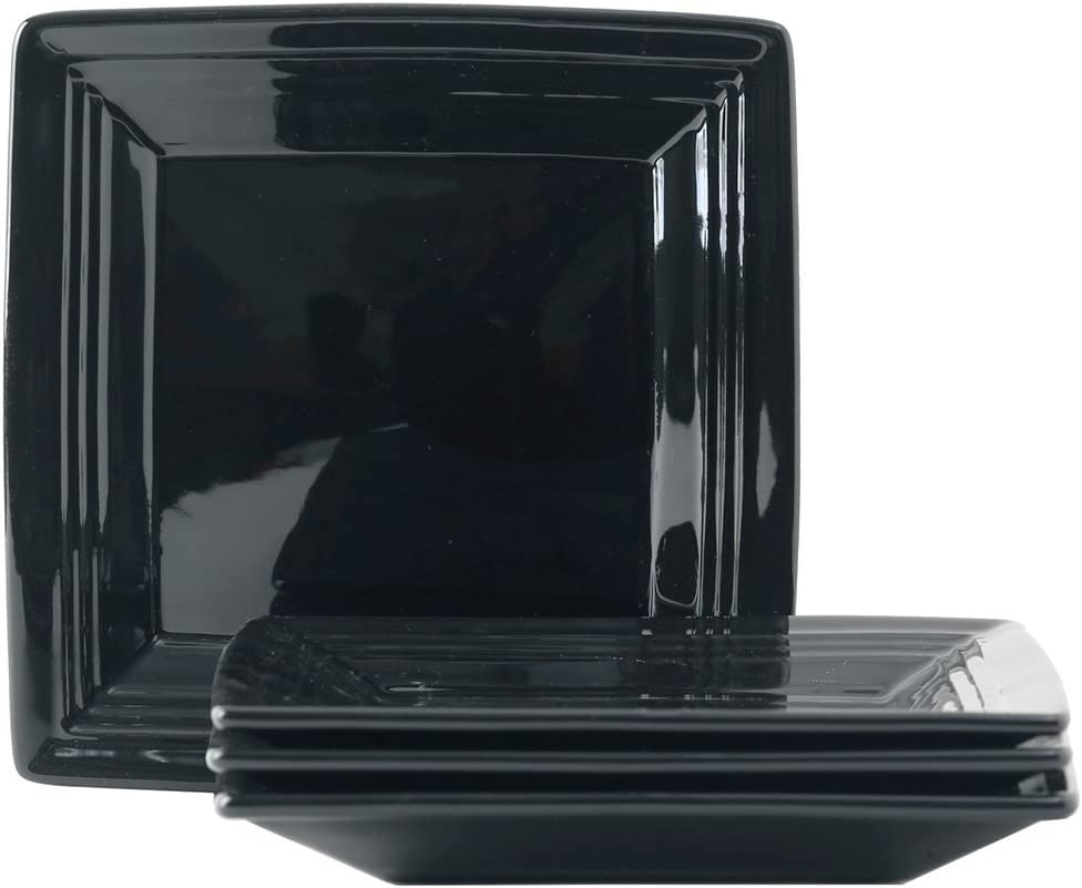 """Tuxton Home Concentrix Square Plate (Set of 4), 8 1/2"""", Black; Heavy Duty; Chip Resistant; Lead and Cadmium Free; Freezer to Oven Safe up to 500F"""