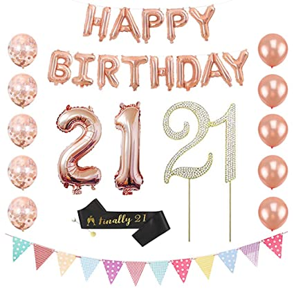 21st Birthday Party Decorations for Her – Number 21 Balloon Rose Gold Happy  Birthday Balloons 21st Birthday Sash Rose Gold Confetti Balloons Happy