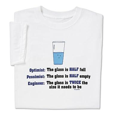 75380314 ComputerGear Funny Engineer T Shirt Geek Nerd Engineering Optimist  Pessimist, S