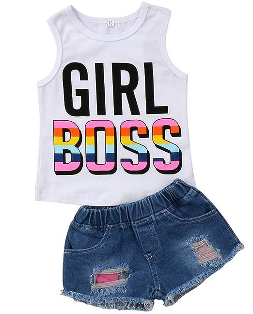 9f4ffd02d Amazon.com  Infant Baby Kids Girl Cotton Sleeveless Vest T-Shirt ...