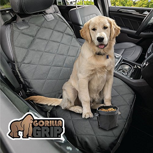 Gorilla Grip Original Premium Slip-Resistant Pet Car Front-Seat Protector for Pets, Free Dog Bowl, Waterproof, Thick Quilted Material, Seat Belt Openings, Extra Large (Premium Front: Black)