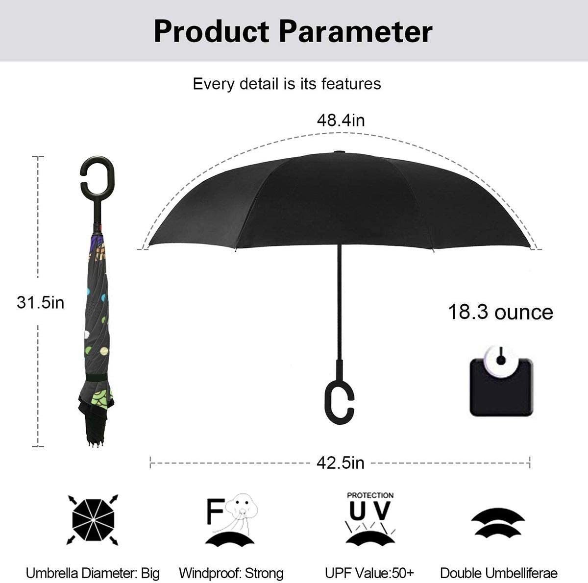 Self Stand Upside Down with C-Shaped Handle Folding Reverse Umbrella for Car Rain Outdoor PYFXSALA Colored Whale Windproof Inverted Umbrella Double Layer UV Protection