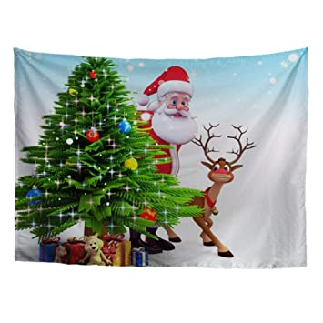 Hugs Idea Tapestries Funny Santa Claus With Elk Cartoon Christmas Tree Gifts Hippie Wall Hanging Home Decor For Living Room Bedroom Apartment