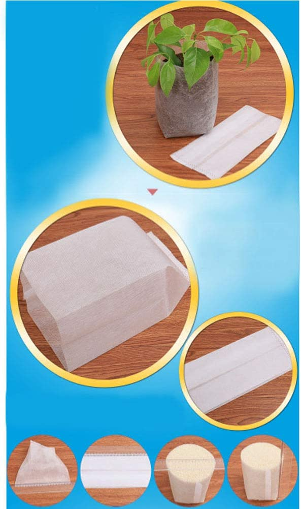 Yudesun Biodegradable Plant Seedling Bags Non Woven Nursery Grow Bags Fabric Breeding Vegetables Flowers Gardening Ecology Agriculture 200 Pieces (Size Before Loading Soil 7x9cm)