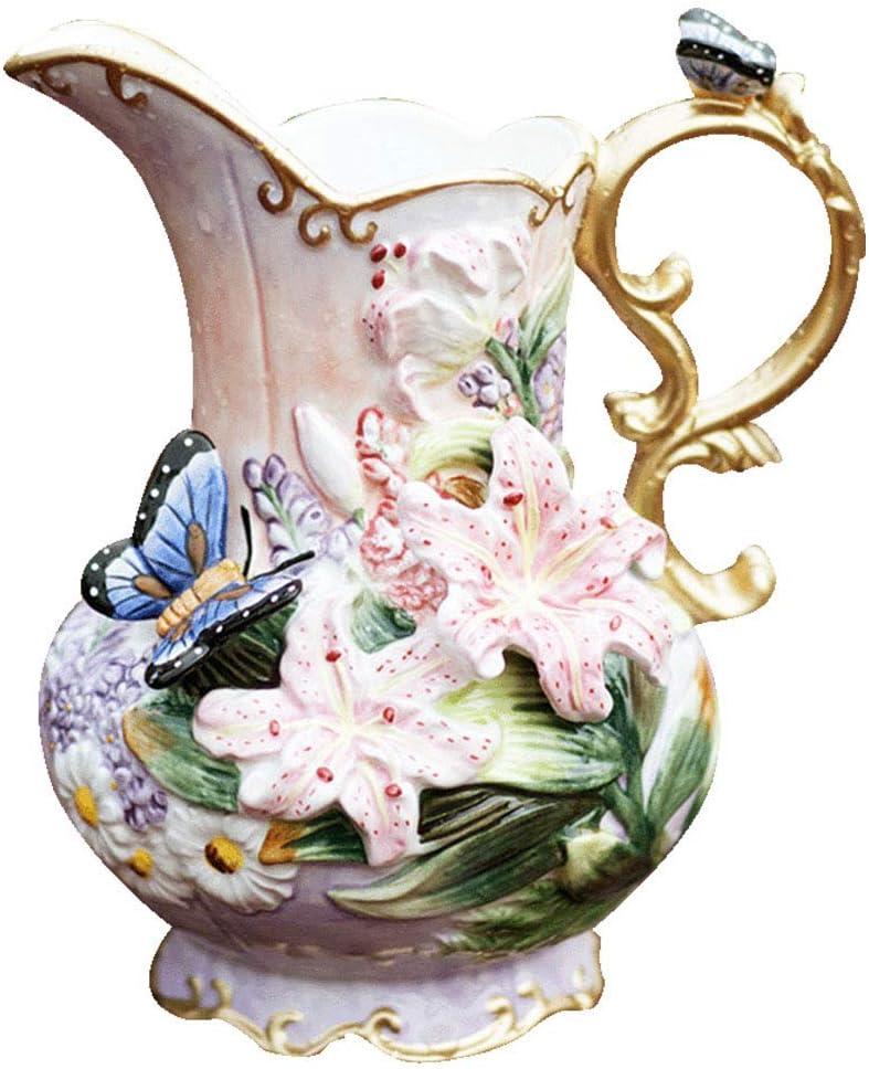 DPPD Floreros, florero de cerámica Florero Botella de Flores Jardín Europeo Lirio casero Mariposa florero decoración Regalo práctico Decorativo (Color: Multicolor, Tamaño: 13 * 16 * 23.5cm)
