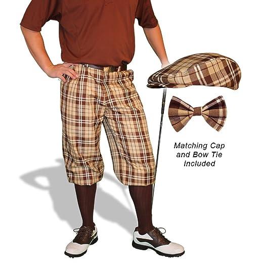 1930s Mens High Waisted Pants, Wide Leg Trousers Plaid Golf Knickers & Cap: Mens Par 5 - Naples $189.95 AT vintagedancer.com